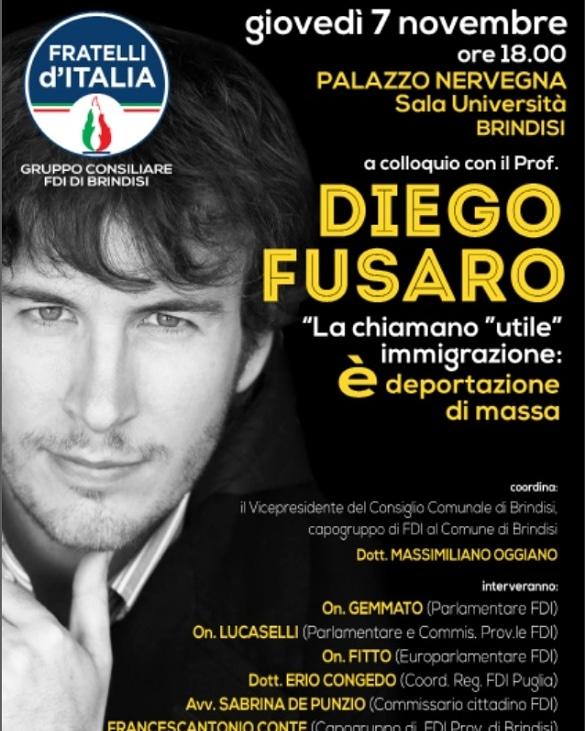"""FdI ospita Fusaro: """"Occasione irripetibile per parlare di immigrazione"""""""