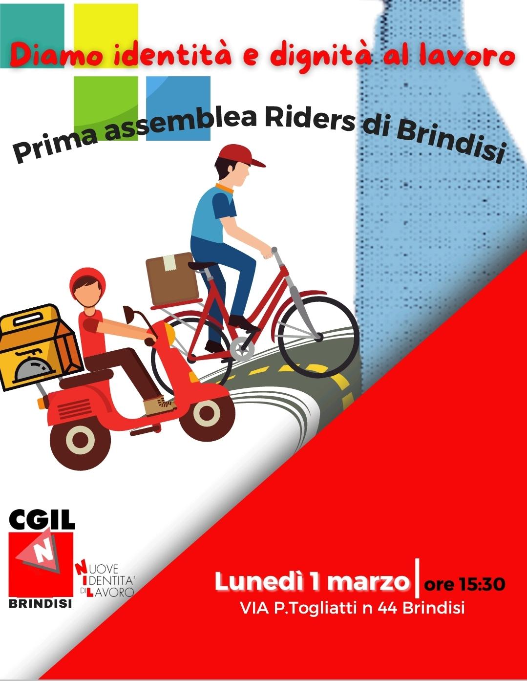 Il NIdiL CGIL Brindisi e la CGIL di Brindisi al fianco dei riders