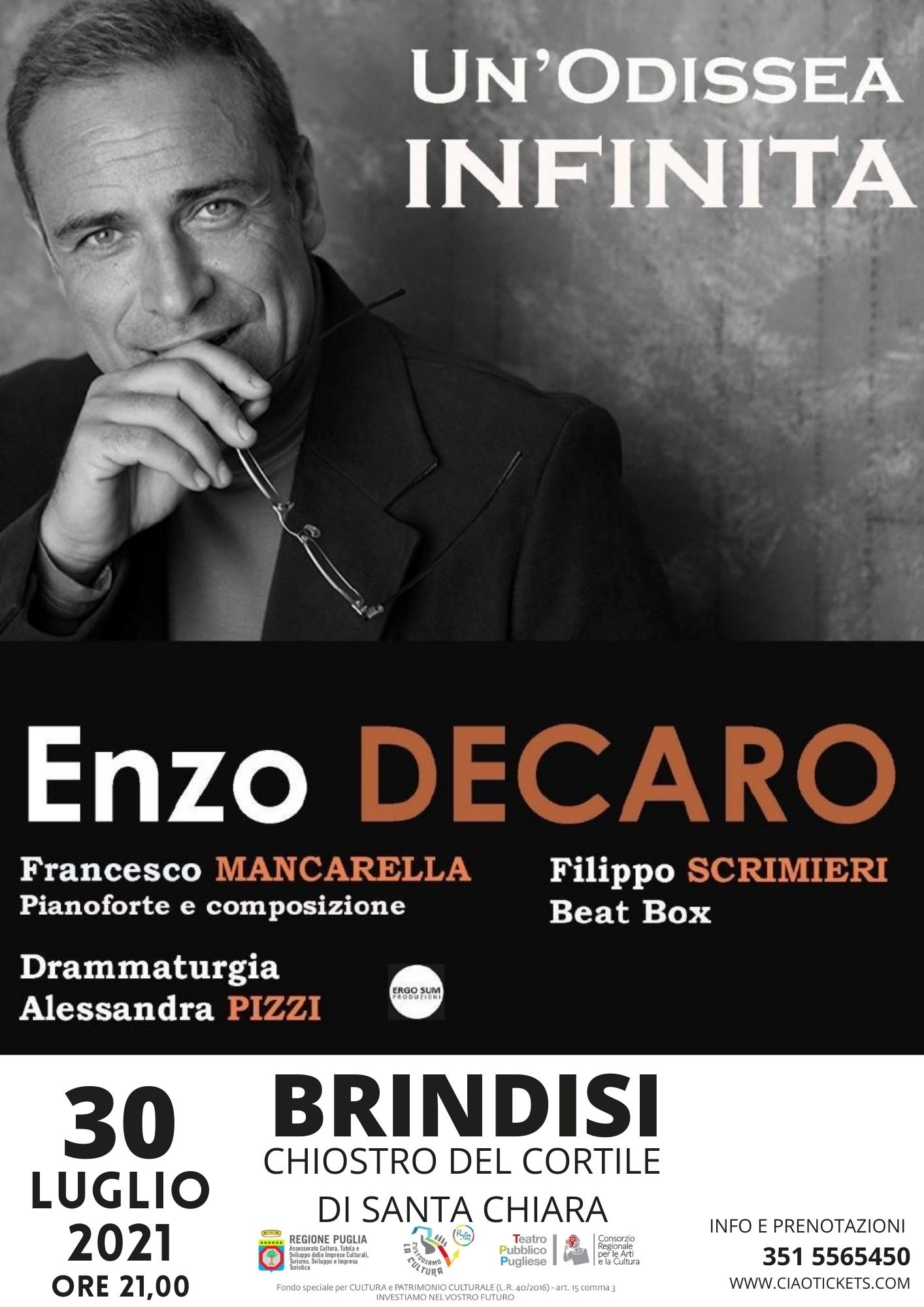 Enzo De Caro porta il suo spettacolo al convento S. Chiara